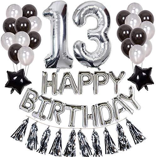 Yorart 13.Geburtstag Dekoration Silber für Jungen Geburtstagsfeier Lieferung mit Happy Birthday Banner Latex Ballons Star Foil Ballons Silber 13