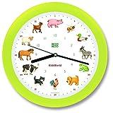 KOOKOO KidsWorld neon, reloj de pared genuino, sonidos de animales naturales, 12 animales de la ganja, ilustraciones Monika Neubacher-Fesser, sensor de luz