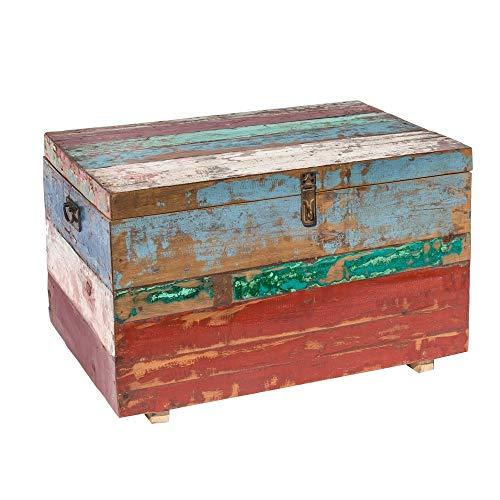 Lola Home Coffre Table de Teck recyclé Marron Ethnique pour Jardin Garden