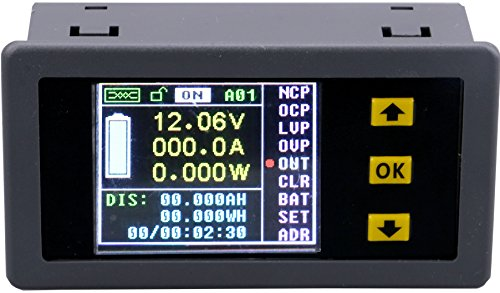 Multi-richtung (Yeeco Multifunktions-Digital-LCD-Multimeter DC 0-120V 0-100A Wireless Voltmeter / Amperemeter / Wattmeter / Kapazität / Stromzähler / Coulomb Meter Ladung-Entladung Batterie-Tester)