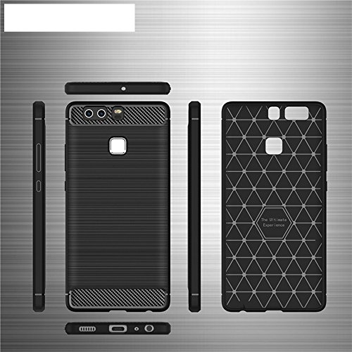 EKINHUI Case Cover Brushed Carbon Fibre Rugged Armor Stoßstange Fall Stoßdämpfer Drop Resistance Shell Back Cover für Huawei P9 ( Color : Red ) Black