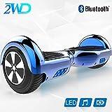 2WD Hoverboard Scooter eléctrico Patinetes eléctricos Self-Balanced Scooter 6.5 Pulgadas Scooter eléctrico UL Certificado con Altavoz Bluetooth (Azul)