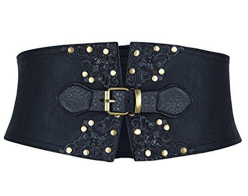 Charmian Women's Vintage Gothic Faux Leather Buckle Slimming Wide Corset Belt Black (Outfit Festival Renaissance)