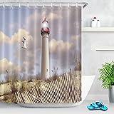LB Leuchtturm Duschvorhang Strand schönen Himmel Seemöwe Muster Polyester Stoff Bad Vorhänge Wasserdicht Anti-Schimmel Badezimmer Dekor mit 12 Vorhang Haken 180x200cm