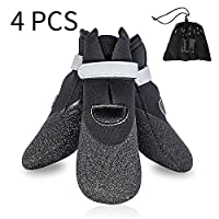 GLE2016 Dog Boot,Waterproof Rugged Pet Dog Shoes Puppy Rain Boots Outdoor Indoor Shoes Large Dog Boots Non Slip Black Rubber Sole Reflective Velcro Strap Breathable Paw Protectors Set of 4