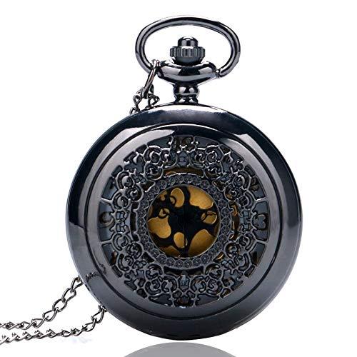 DYH&PW Taschenuhr Vintage Schmuck Steampunk Antique Halskette Black Pocket Watch Classic Pattern aushöhlen Pocketwatch (Watch Black Pocket)