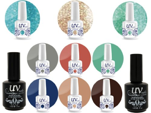 UV Nail Gel Proffesionel Collection Oasis Paradise 3 Paillettes Vibrante+6 Gels+Base&Top+Polissoir a Ongles Aviva