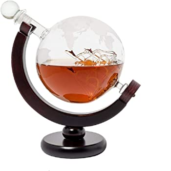 Bier, Wein & Spirituosen WunderschöNen Whisky-karaffe 750 Ml Und 2 Gläser Schnaps Wein Glas-behälter Flasche Globus Neu