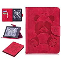 DENDICO Kindle (2016 Model) Leather Flip Notebook Style Case e-Book Reader Cover [Stand Function] [Magnetic Closure] [Card Slots] Slim WeightLight Protective Case for Amazon Kindle (2016 Model) - Red