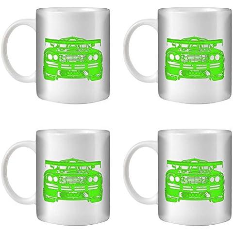 STUFF4 Taza de Café/Té 350ml/4 Pack Verde/F1 GTR/Cerámica Blanca/ST10