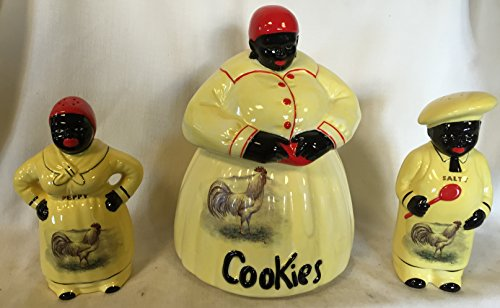 black-americana-mammy-aunt-jemima-cookie-jar-salt-pepper-shaker-set-yellow-w-white-leghorn-roosters-