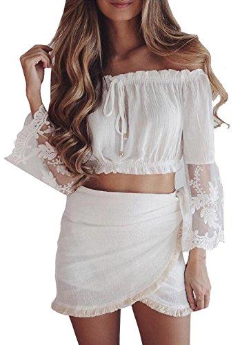 longwu-womens-off-shoulder-summer-lace-sleeve-chiffon-blouse-crop-tops-casual-t-shirts-white-s