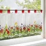 Scheibengardine BLUMENWIESE für Küche / weiße Wohnzimmer Bistrogardine / 45x90 cm / Moderne und transparente Gardine für den Sommer
