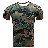 Nanxson(TM) Maillot De Corps T-shirt Manches Courtes Couleur Camouflage Compression Fitness Sport Pour Hommes (S, Camo vert)