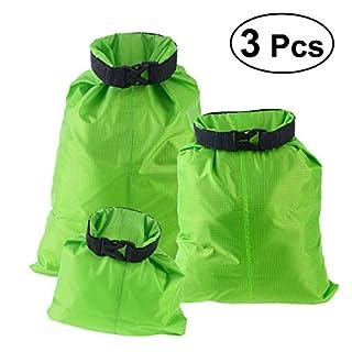 UEETEK 3 Stück/ Set Trockenbeutel,Ultra-light Nylon Packsacks für Camping Bootfahren ,Ideal für die Lagerung von Kleidung/Sonnenschutz Creme / Schuhe Etc Grün,(1,5 L + 2,5 L + 3,5 L)
