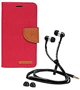 Aart Fancy Wallet Dairy Jeans Flip Case Cover for OnePlusOnePlus2 (Red) + Zipper Earphones/Hands free With Mic *Stylish Design* for all Mobiles- computers & laptops By Aart Store.