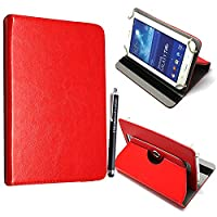 Kamal StarŽ Universal Premium Quality PU Leather 360 Stand Case Cover Fits All Android Tablets devices + Stylus (UNIVERSAL 10.0' INCH, Red Flip 360)