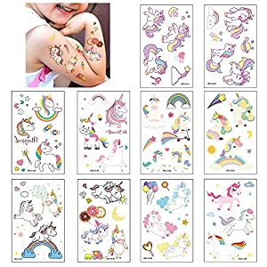 10 Hojas Unicornio Tatuajes Temporales