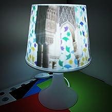 Lampan GRANADA Kenybuey Lámpara de sobremesa para dormitorio o salón. Bombilla incluida. Con diseño inspirado en los azulejos de la Alhambra y el cuarto Dorado. Original como regalo. Ideal para mesita.