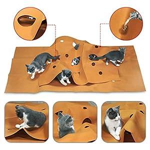 Yanhonin Tapis de Jeu pour Chat, Animaux Domestiques Jouet Trou Tunnel Tapis pour Cacher Amusant, pour n'importe Quel Chat ou Autre Animal Domestique