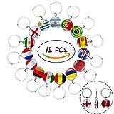 15pcs beidseitig Metall National Flagge Fußball Muster Schlüsselanhänger Ringe für Fußball Match 2018FIFA World
