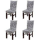 Eleoption, rivestimento copri sedia con funzione di sostegno, elasticizzato, rimovibile, lavabile, in spandex per decorazione sala da pranzo in occasione dei banchetti di nozze, confezione da 4 Gray Pteris