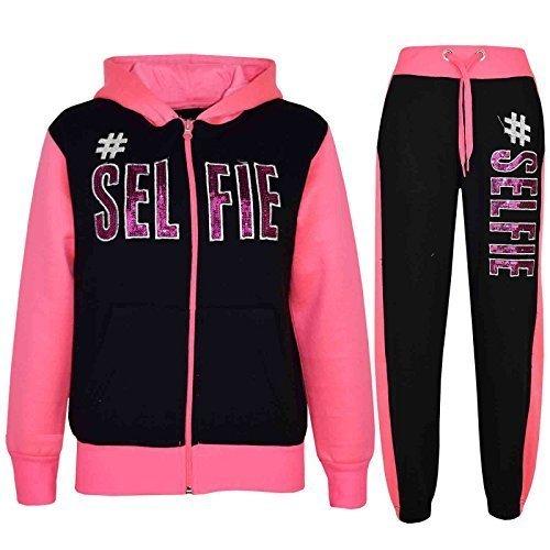 A2Z 4 Kids® Kinder Mädchen Jungen Designer - T.S #Selfie Black & Neon Pink 9-10