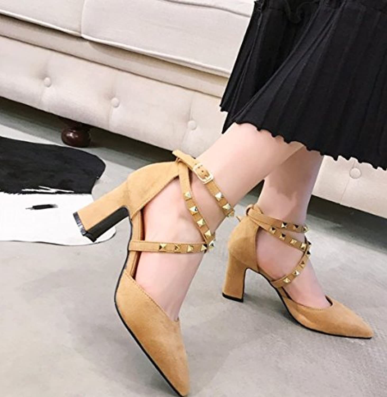 4fc8314aad2f AJUNR New Fashion Work High-Heel Women With Coarse Point Point Point Shallow  Mouth Leisure Shoes Retro All-Match 7Cm Heels... B07CDQNMCL Parent 67da68
