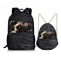 Nopersonality Boys Girls School Bags for Teenagers Children Backpack Drawstring Gym Sack Travel Bag 2pcs/Set