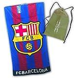 Toalla del FC BARCELONA de 100x170cm, 100% algodón. Con práctica mochila de regalo!