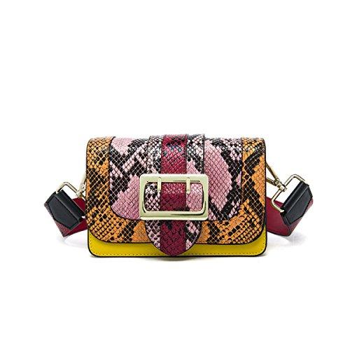 Donne Cuoio Genuino Serpentine Hit A Colori Singola Spalla Crossbody Bag. Pink