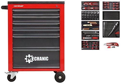 CAROLUS Werkzeugwagen Mechanic rot + Werkzeugsatz 2200.070
