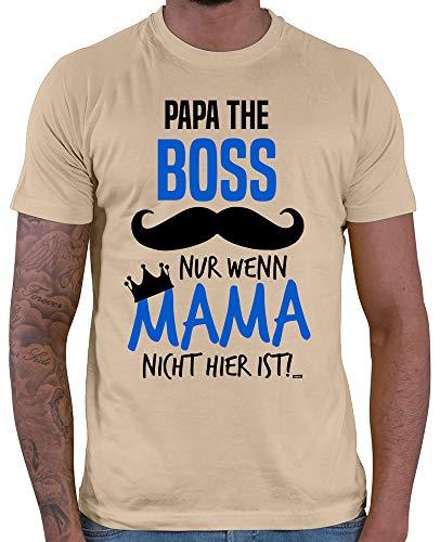 HARIZ  Herren T-Shirt Papa The Boss Nur Wenn Mama Nicht Hier Ist Kinder Sohn Vatertag zur Geburt Inkl. Geschenk Karte Beige M