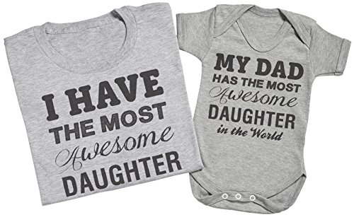 Most Awesome Daughter - Passende Vater Baby Geschenkset - Herren T-Shirt & Baby Strampler / Baby Body Grün