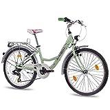 60,96 cm aluminio CITY BIKE bicicleta para niñas infantil CHRISSON RELAXIA con 7 de SHIMANO para bicicleta verde