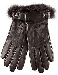 ELMA Handschuhe aus geschmeidigem Nappaleder, Bund aus Kaninchenfell, Kaschmir-Futter, vergoldetes Logo