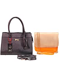Anemone Women's Shoulder Bag 04 And Sling Bag Combo (Black Yellow)