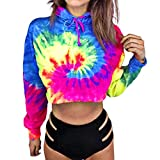 VENMO Damen Stickerei Hoodie Rundhals Langarm Sweatshirts Bluse Oberteile Kurz Gedruckte Lange Hülse Kurzes Sweatshirt Hoodies Bluse Bunte Tie Dye Crop Tops Drucken Pullover Brief (M, Multicolor -d)