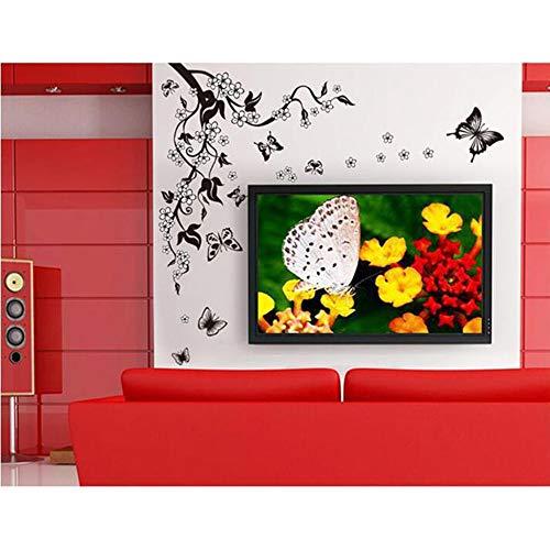 LQRRHY Black Flower Cane schickte 10 Schmetterlings-Hintergrund-Wand-Abziehbild-Aufkleber auf der Wand