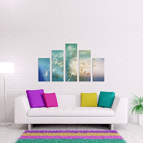 malango® - Leinwandbild - Pusteblume Leinwandesign in Premium Qualität 5-Teiler unten bündig spezielle Latex-Farbe auf Premium Leinwandstoff 170 x 100 cm