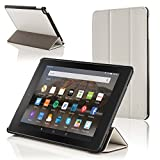 Forefront Cases® Amazon Fire HD 10 (5th Generation - 2015 Modell) Smart Hülle Schutzhülle Tasche Smart Case Cover Stand - Ultra Dünn und Leicht mit Rundum-Geräteschutz und intelligente Auto Schlaf / Wach Funktion (WEIß)