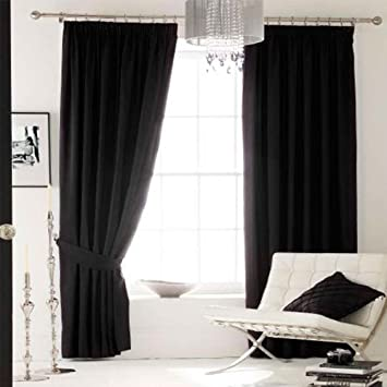 Catherine Lansfield 90 x 90-inch Plain Faux Silk Eyelet Curtains ...