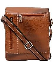 Hileder Leather Handy 8 Inch Sling Crossbody Tablet Bag (Tan)