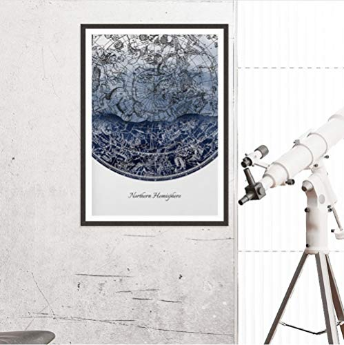 mmbj Northern & Southern Hemisphere Wandkunst Leinwand Malerei Celestial Star Chart Konstellationen Astronomie Poster Drucke Wohnkultur 80x100cm - Chart Leinwand Arbeit