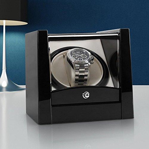 Klarstein 8PT1S Uhrenbeweger Uhrenbox (für 1 Uhr, linkslauf/rechtlauf, Sichtfenster, Kunstleder Inlay, flüsterleiser Motor) schwarz-Pianolack - 2