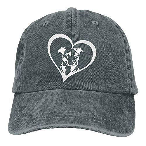 Wdskbg Männer & Frauen einstellbar Denim Stoff Baseball Caps Pit Bull Heart Snapback Cap Multicolor64 - Bull Denim Stoff