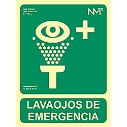 Normaluz RD14109 - Señal Luminiscente Lavaojos De Emergencia Clase B PVC 0,7mm 22,4x30cm con CTE, RIPCI y Apto para la Nueva Legislación