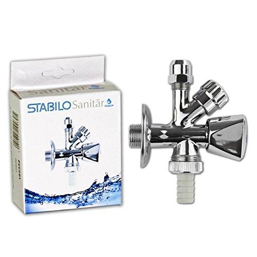 Stabilo-Sanitaer Kombi Eckventil 1/2 Zoll x 10 mm Geräteventil mit Geräteanschluss Kombiventil Doppel-Ventil Waschmaschine, Geschirrspüler oder Spülmaschine