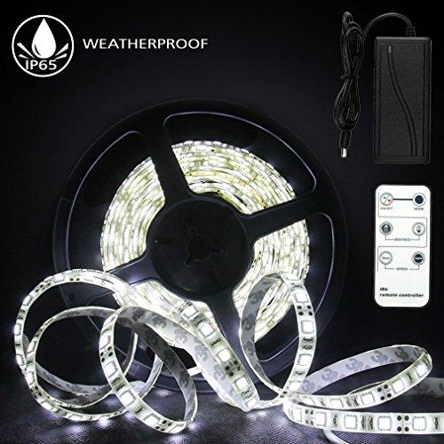 Preisvergleich Produktbild LED Streifen 5m Kaltweiß, Anten 600 LED Lichtleiste LED Strip Lichtband IP65 Wasserdicht 2835 mit Fernbedienung 12V Netzteil für Deko Bar Party Schlafzimmer