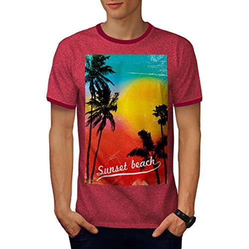 Sonnenuntergang Strand Wild Urlaub Sommer Geist Herren XXL Ringer T-shirt | Wellcoda (Ringer T-shirt Geist)